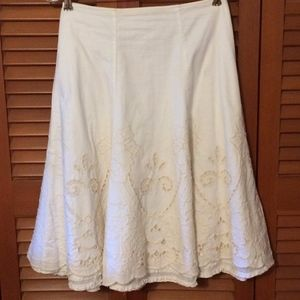 CAbi White 100% Cotton wt Buff Embroidered Cutwork